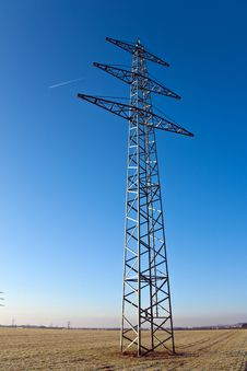 Electricity Tower For Energy With Sky Stock Photos