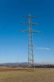 Free Electricity Tower For Energy With Sky Stock Image - 14195441