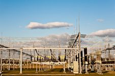 Free Electricity Tower For Energy With Sky Stock Images - 14195824