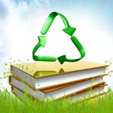 Golden Books About Recycle Royalty Free Stock Photos