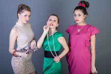 Free Three Happy Retro-styled Girls Royalty Free Stock Photos - 14197368