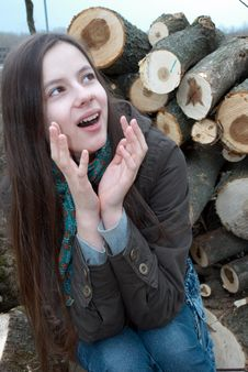 Free Young Girl On Logs Stock Photo - 14198260