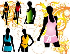 Free Silhouettes Women Swimwear Royalty Free Stock Photos - 14198988