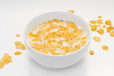 Bowl With Corn Flakes Royalty Free Stock Photography