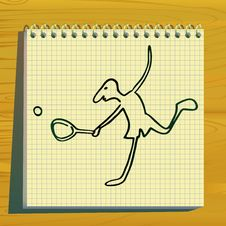 Free Tennis Player Doodle Silhouette. Royalty Free Stock Image - 14199976