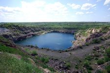 Free Blue Lake In Open Pit Royalty Free Stock Image - 14199996