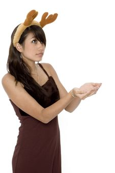 Cute Girl Holding Out Hands Stock Photo