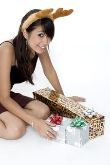 Free Happy With Presents Royalty Free Stock Photo - 1420055