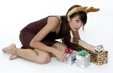 Free Cute Girl With Presents Royalty Free Stock Images - 1420059