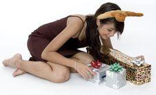 Free Happy Around Presents Stock Image - 1420071