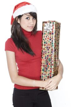 Free Cute Girl With Present In Arms Stock Photo - 1420440