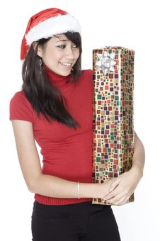 Free Looking Cute With A Present Stock Image - 1420461