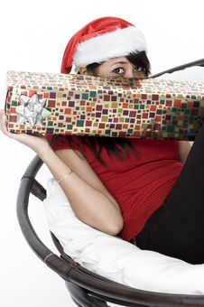 Free Hiding Behind Her Present Stock Images - 1420534