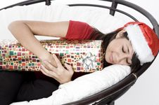 Free Asleep With Present Royalty Free Stock Images - 1420559