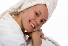 Free Beauty Girl In Towel After Shower Royalty Free Stock Photos - 1420878
