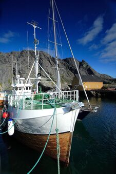 Fishing Vessel In Nussfjord Stock Photo