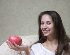 Free Woman With Apple Royalty Free Stock Image - 1422446