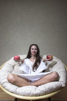 Free Woman With Apple Stock Photography - 1422532