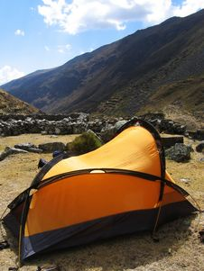 Yellow Tent In The Cordillera Royalty Free Stock Image