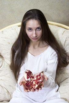 Free Woman With Pomegranate Stock Photography - 1425832