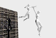 Free Platinum Girls Leaping Royalty Free Stock Photography - 1426217