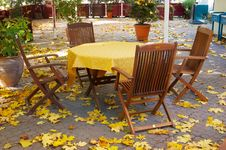 Autumn Empty Terrace Table Royalty Free Stock Images