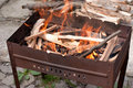 Free Brazier With Burning Wood Royalty Free Stock Image - 14201186