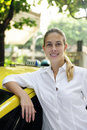 Free Portrait Of A Female Taxi Driver With Her New Cab Stock Photography - 14209512