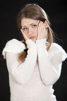 Beautiful Young Woman Blonde Dark Blue Eyes Stock Photo