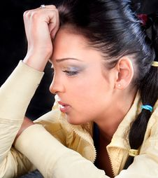 Portrait Of Attractive Young Woman With Headache Royalty Free Stock Photo