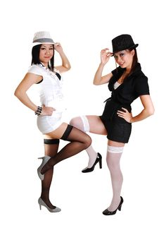 Two Chinese Girls With Hat. Stock Photography