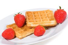 Free Waffles With Strawberries Royalty Free Stock Photo - 14202825