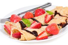 Pancakes With Strawberry Royalty Free Stock Images