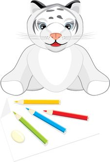 Little Tiger With Pencils Royalty Free Stock Photography