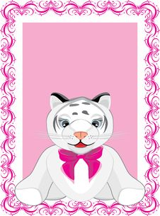 Little Tiger With Pink Bow In The Decorative Frame Royalty Free Stock Photos