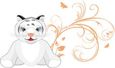 Free Little Tiger With Decorative Floral Ornament Stock Photography - 14203462