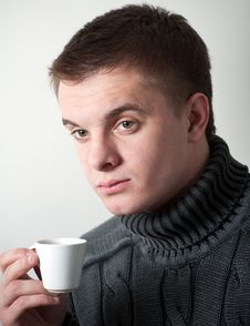 Free Young Man With A Cup Coffee Stock Photography - 14203532
