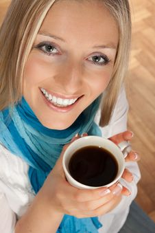 Free Woman With Cup Of Coffee Stock Images - 14203654