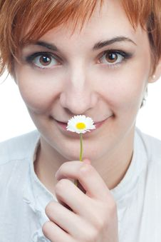 Free Girl Smelling Flower Stock Images - 14203674