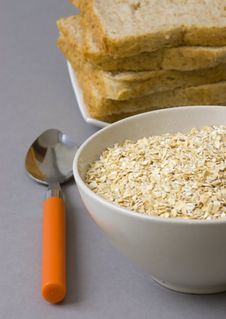 Free Bowl With Oats And Bread Stock Image - 14203701