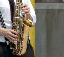 Free Playing Saxophone Royalty Free Stock Photography - 14203717