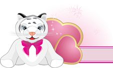 Free Little Tiger With Pink Bow And Hearts. Banner Stock Photos - 14203793