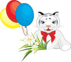 Free Little Tiger With Chamomiles And Colorful Balloons Stock Images - 14203854