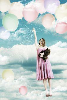 Beauty Girl On A Air Ball Stock Photos