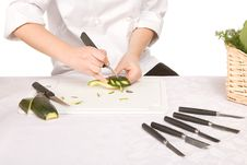 Free Process Of Carving A Zucchini Isolated Stock Photography - 14203912