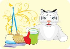 Little Tiger With Set For Cleaning. Card Stock Image