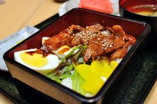 Japanese Grilled Black Pork With Rice Stock Photography