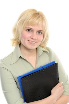 Free Young Businesswoman Holding A Folder Royalty Free Stock Images - 14204229