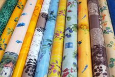 Material Rolls At A Market In Provence Stock Photo