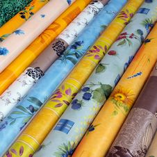 Material Rolls At A Market In Provence Royalty Free Stock Photography